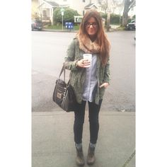 Rainy day outfit - utility jacket, denim button-up shirt, big beige infinity scarf, black skinny jeans, grey socks, leather boots