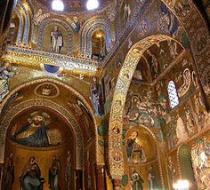 "Found this fascinating! =D (Former pin description): ""Palatine Chapel was the royal chapel of the Norman kings of Sicily. It combines a variety os styles: Norman architecture, Arabic arches, Byzantine mosaics. It's exceptional!"""