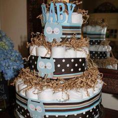 Owl theme baby shower diaper cake