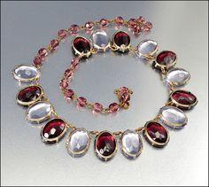 Art Deco Necklace Czech Lilac Glass Fringe Vintage 1930s Jewelry