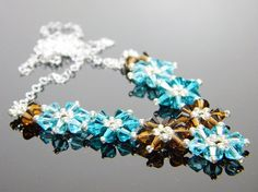 Daisy Chain Custom Color Flower Swarovski Crystal by WhimsyBeading, $40.00