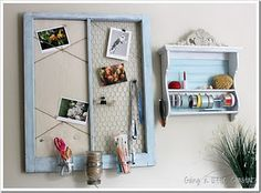 old window...add cork and chicken wire for an easy message board
