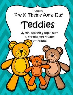 The teaching theme focus for this packet is TEDDIES. Also works for TOYS theme, and Bring Your Teddy to School Day. Pre-K Theme for a Day includes all the activities and printables (to make hands-on centers and games) that you need for a full day of teaching - and more. 48 pages