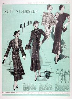 """1934 Butterick Fashions ad - nice graphics and love the apt tagline - """"Suit Yourself""""."""