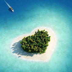 Tavarua Island in Fiji.  Yep, its actually heart-shaped.