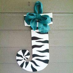 Monogram Initial Wooden Door Hanger Art- Zebra Letter