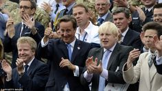 Praise: British Prime Minister David Cameron (centre) gives a thumbs up next to London Mayor Boris Johnson (second right) and Princess Anne, Princess Royal (right) as he watches the parade