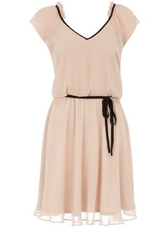 Oyster piped ruffle dress