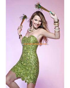 Belle robe de soirée glamour courte 2012 ornée de paillettes Style Q4139