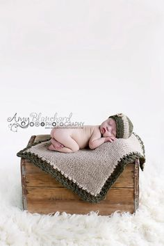 Newborn photo prop set Knit Baby blanket and by TheMoonlightShadow,
