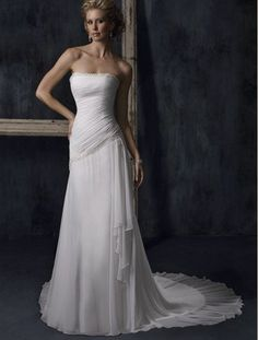 Pleated Chiffon Sheath With Draping [WG1233] - $202.00 : LuxeBlue Quality Discount Wedding Dresses & Formal Gowns, Worlds leading supplier of affordable fashion for Wedding dresses, Bridal gowns and discount formal wear. Safe & Fast delivery world wide.