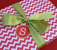 Red Chevron Premium Wrapping Paper, via Etsy.