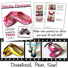 doll clothes patterns, point toe, american girl, toe shoe, shoe pattern