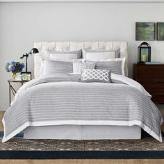 The rich lines of this chambray bedding add a touch of sophistication.