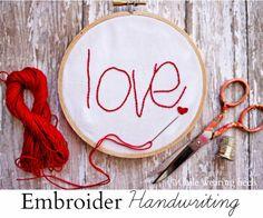 While Wearing Heels: DIY Embroidered Handwriting Keepsake