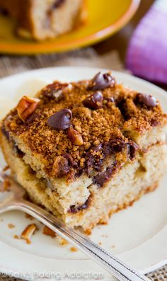 Super-moist banana crumb cake layered with cinnamon, brown sugar, and chocolate chip streusel. You'll want seconds!
