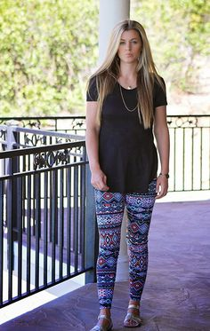 FUN PANTS! And gold flat sandals. I really love printed leggings.