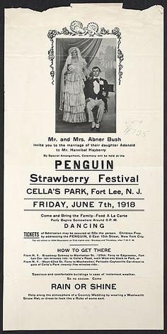 Citation: Flyer for the Penguin Club's strawberry festival, 1918 . Walt Kuhn, Kuhn family papers, and Armory Show records, Archives of American Art, Smithsonian Institution.