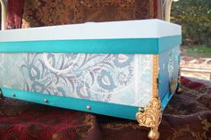 Teal turquoise with gold accents box by samanthahollins on Etsy, $25.00