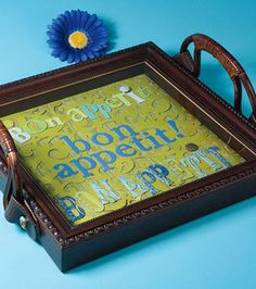 Frame + Purse handles + Paper craft supplies = Shadowbox Serving Tray!
