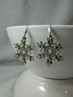 Light Green Snowflake Swarovski Crystal by ChangingSeasonsGifts, $18.00