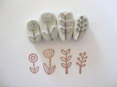Garden Hand Carved Rubber Stamp Set! (: