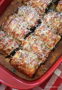 Best Skinny Eggplant Rollatini with Spinach | Skinnytaste. Followed the recipe as written except that I rinsed my eggplant before drying and didn't add extra salt after that. Also, I doubled the ricotta cheese to 1 cup. Tasted good.