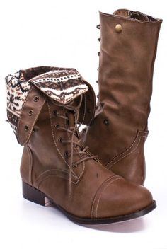 TAUPE FAUX LEATHER LACE UP FOLD OVER COMBAT BOOTS