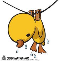 Tuzki & Duck: How to dry a wet plush duck - Method 2.