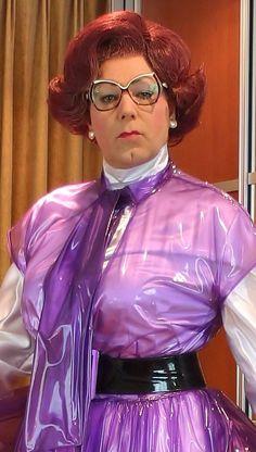 Prim plastic overdress, strict look