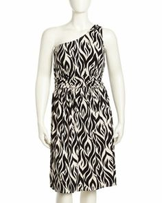 T7YEX Rachel Pally Imara One-Shoulder Jersey Dress, Black Calico, Women's