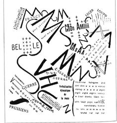 Futurism was launched when the Italian poet Filippo Marinetti published his Manifesto of Futurism in the Paris newspaper Le Figaro on 20 February 1909. It shocked the public. Noise and speed, two dominant conditions of 20th century life, were expressed in futurist poetry. Using 12 typefaces in one pece, abstarct layout. It creating a space for designer to create new idea.