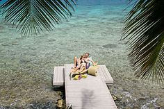 Hotel guests relaxing on the dock at Frenchmans Resort