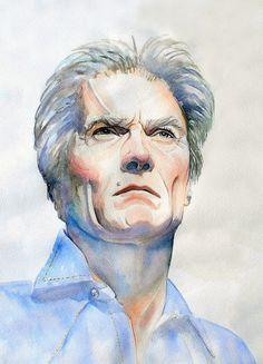 Clint Eastwood watercolor portrait by workingwoman