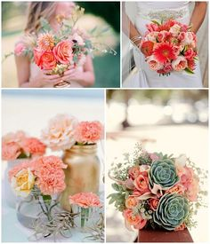 Introduce coral into your bouquets and centerpieces to create a bright and cheery look  Keywords: #coralweddings #jevelweddingplanning Follow Us: www.jevelweddingplanning.com  www.facebook.com/jevelweddingplanning/