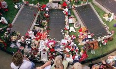 Elvis Presley grave site flowers at Graceland.