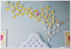 cascade of butterflies from headboard