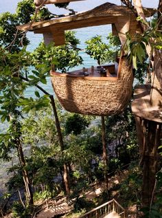 One of the resort's many restaurants is the treetop dining pod, where waiters zipline in. #Thailand