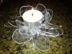 Upcycled Plastic Flower Candle Holder
