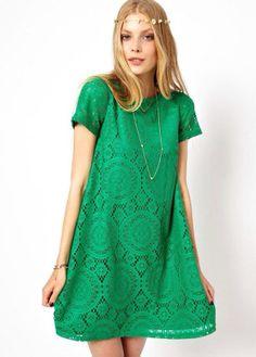 green short sleeve hollow dress