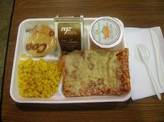 the old square pizza and corn school lunch