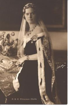 Princess Sibylla of Saxe-Coburg-Gotha (18 Jan. 1908--28 Nov. 1972), 2nd child and 1st daughter of Charles Edward, Duke of S-C-G.  Sibylla married Prince Gustav Adolf of Sweden, son of Crown Prince Gustav Adolf.  Sibylla and GA had 5 children; their son, Carl Gustav, is the current King of Sweden.