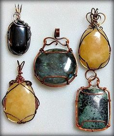 Wire wrapped pendants.