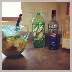 Tropical sangria!!! White wine, tropical punch vodka, 7 up, mango, pineapple, strawberries, and oranges!!! Yummy!!!!