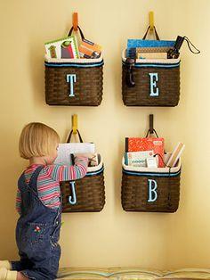 Cute idea to store kid stuff-