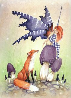 Fairy Art Original Watercolor Painting - 9x12 - A Fox and a Faery - whimsical, animal, fairy tale, bright, purple, orange. $160.00, via Etsy.