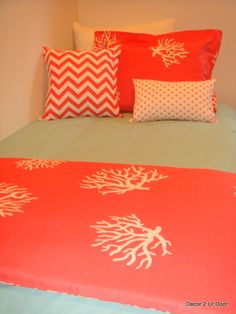 aqua and coral custom dorm room bedding