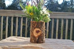 Rustic Master Bedroom Decor, Log Vase, Home Decorations, Office Decor, Log Cabine Decorations on Etsy, $35.00
