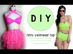 DIY Retro Swimwear Top (easy) - YouTube
