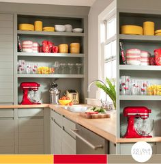 red, yellow, and gray kitchen